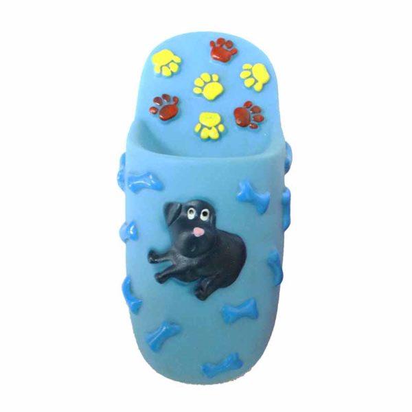 Jouet chien pantoufle - bleu