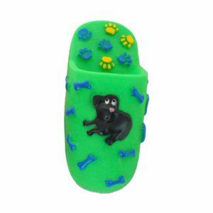 Jouet chien pantoufle - vert