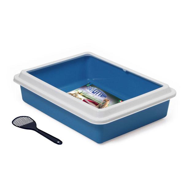 Bac à litière avec pelle - bleu