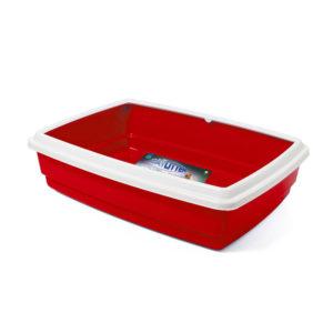 Bac à litière avec rebord - rouge