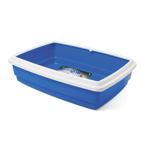 Bac à litière avec rebord - bleu