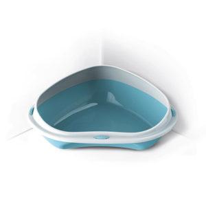 Bac à litière d'angle anti-projection - bleu