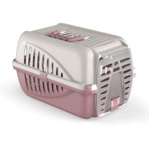 Caisse transport pour chat et petit chien - rose