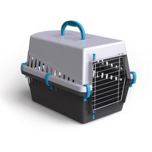 Caisse transport porte en métal - bleu