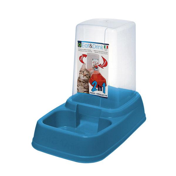 Distributeur eau et croquettes 3,7L - bleu