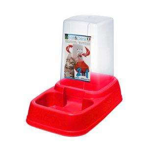 Distributeur eau et croquettes 3,7L - rouge