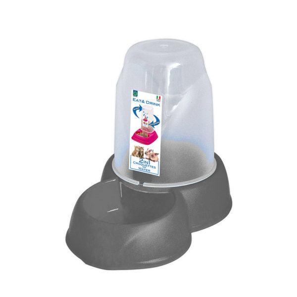 Distributeur eau et croquettes 1,6L - gris