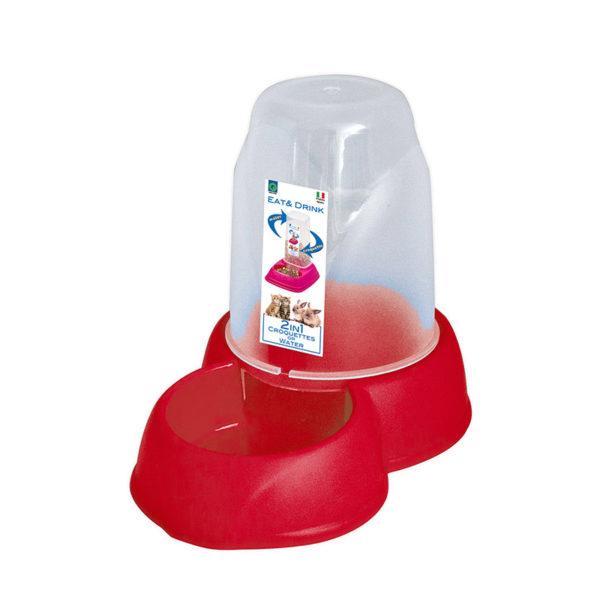 Distributeur eau et croquettes 1,6L - rouge