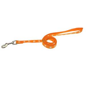 Laisse motif pattes - orange