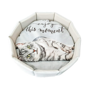 Corbeille motif chat - coloris beige