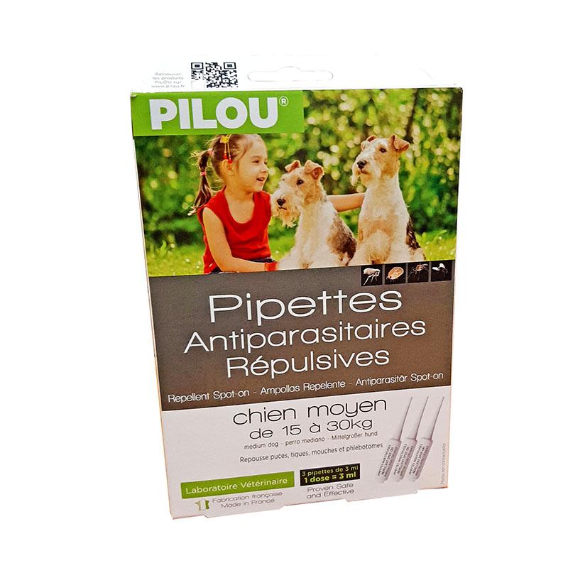 Pipettes antiparasitaires répulsives moyen chien de 15 à 30 kg