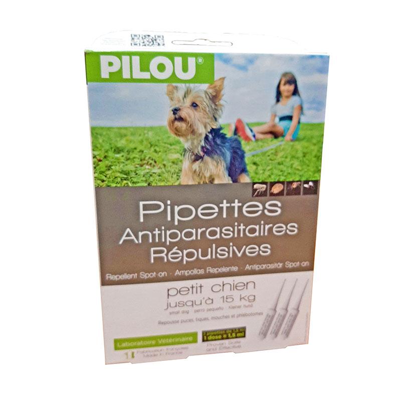 Pipettes antiparasitaires répulsives petit chien jusqu'à 15kg